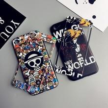 Luffy dla iPhone 7 plus tłoczone etui + szkło hartowane film dla iPhone 7 8 6 6 s plus etui na telefon miękka ochrony fundas