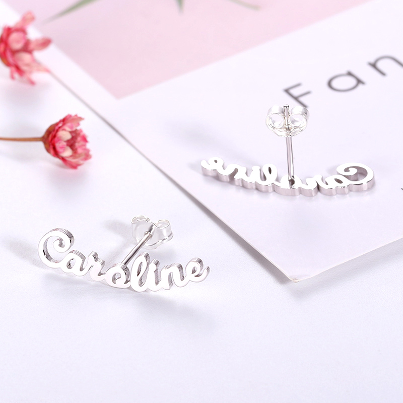 AILIN Personalized Name Earrings 925 Sterling Silver Customized Name Earrings Jewelry For Birthday Gift in Stud Earrings from Jewelry Accessories