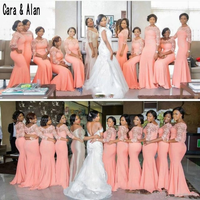 Cheap African Coral Bridesmaid Dresses Long Half Sleeves Plus Size Lace Mermaid Party Dress For Weddings Vestido Madrinha Bridesmaid Dresses Aliexpress
