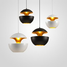 Star Wish Nordic Designer Black / White Aluminum Apple Shape Led Pendant Lights Bar Hanging Lamp 25cm 35cm