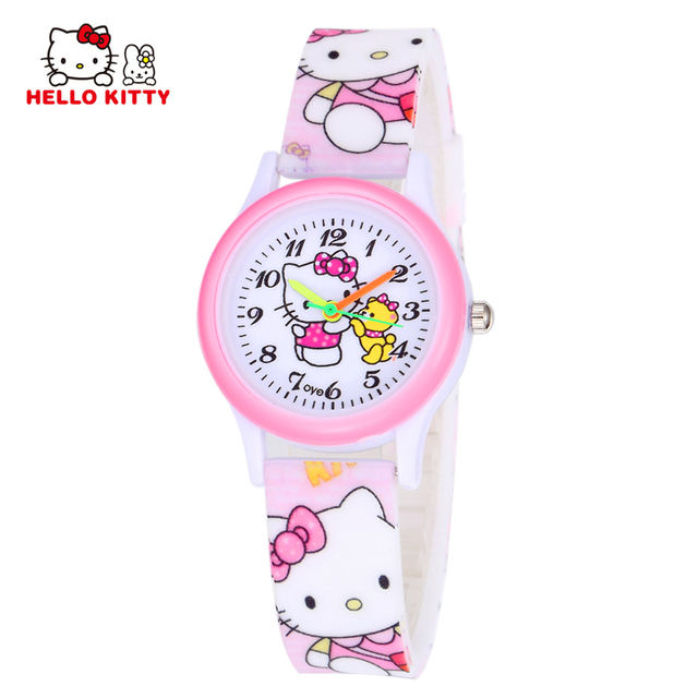 Watch For Girls Children's Watches Hello Kitty Pink Wristwatches Rubber Watchban