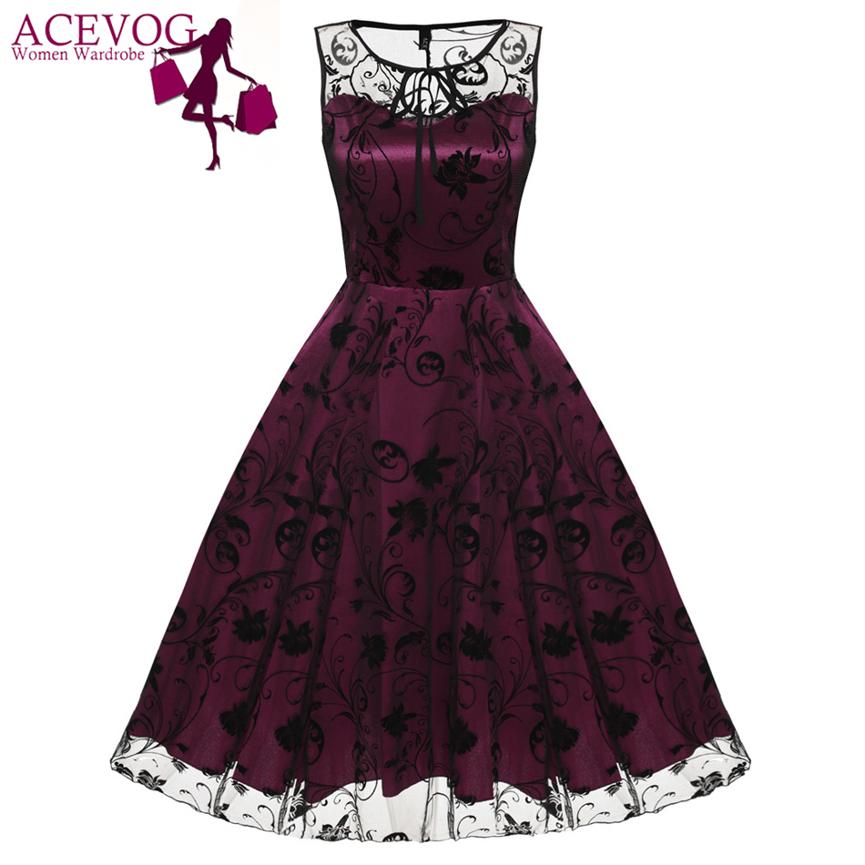 ACEVOG Retro Women Vintage Style Sleeveless Mesh Embroidery Long Cocktail Party Dresses Flower Skull Ball Grown Party Femme Robe