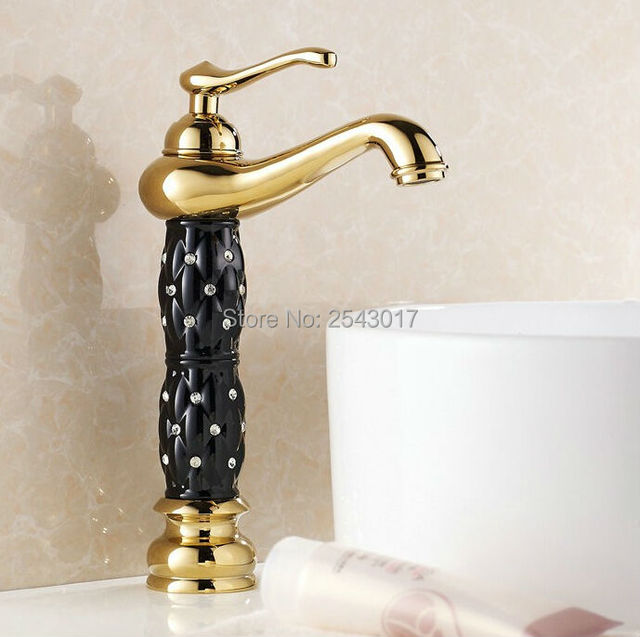 Wholesale and Retail Bathroom Golden Faucet Crystal Diamond ...