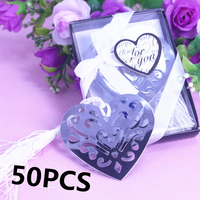 50PCS/SET Bulk Heart Bookmark Boy Girl Baby Shower Baptism Giveaway Souvenirs First Communion Wedding and Favour Gifts For Guest