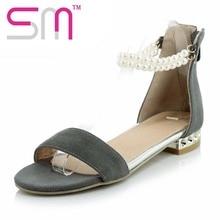 2016 Zip сандалии Большой размер 32 — 44 популярный стиль лето мода стрэп бусины обувь женщина квадратных низком каблуке сандалии гладиаторов