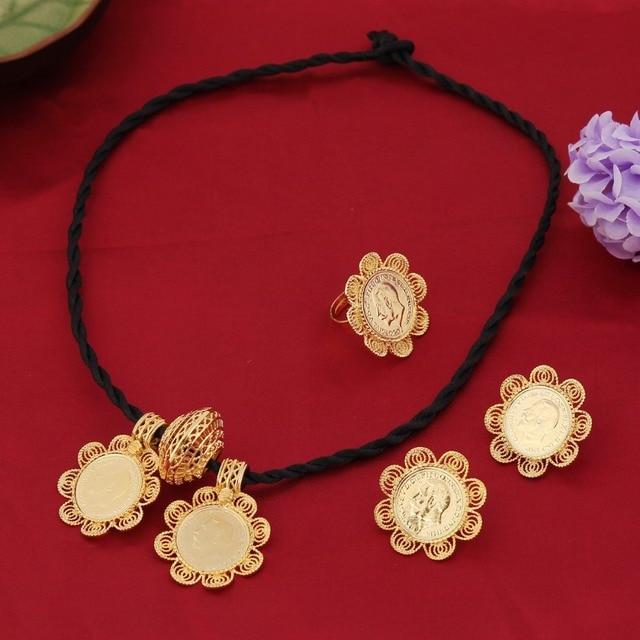 Bangrui Эфиопский Большой Монета Крест Ожерелье Серьги RingJewelry 22 К Позолоченный Африканских Эритрея Habesha Свадебные Украшения