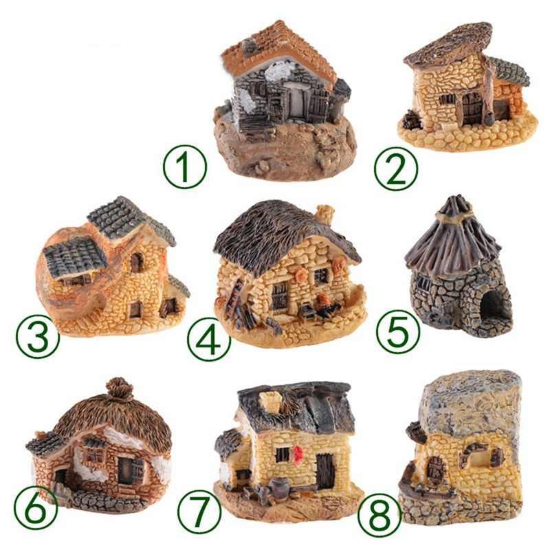 Stone House Fairy Garden Miniature Kawaii Mini Resin Small House Garden Micro Figurines Miniatures  Decor DIY Accessories