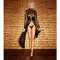 New Women Sexy Round Neck Long-Sleeve Sheer mesh PVC Black Faux Leather Gothic Weave Catsuit Dress