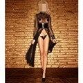 Nueva Mujeres Sexy Cuello Redondo de Manga Larga de malla Transparente PVC Imitación de Cuero Negro Gótico Weave Catsuit Vestido