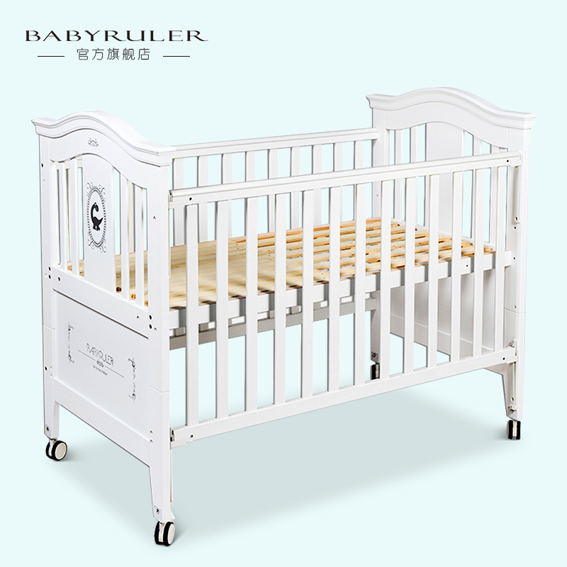 Babyruler baby bed wood fashion game bed eco-friendly paint multifunctional baby bed white elysium bed bed