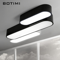 Modern Long LED Ceiling Light With Dimmable Remote Control Black And White Corridor Living Room Lamp