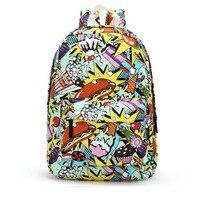 Adolescente estudantes Meninas crianças Mochilas de Lona ocasionais mini pequena mochila School Bolsas carta rabisco Impressão de Graffiti Mulheres
