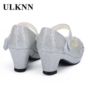 Image 3 - Ulknn crianças princesa sapatos para meninas sandálias de salto alto brilho brilhante strass enfants fille feminino vestido festa sapatos