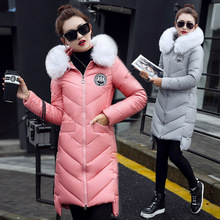 Fashion Women s Winter Coat Warm Cotton Down Coats PU Leather Fur Hooded Long Jacket For