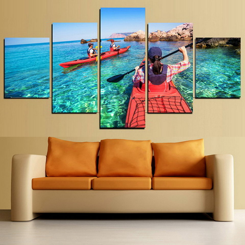 Art Home Decor Framework Canvas Painting Poster 5 Panel Raft Boat On The Sea Wall For Living Room Modern HD Printed Pictures
