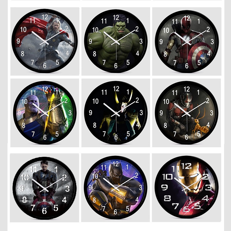 12 inches Silent Cartoon Super Hero Avenger Wall Clock Colorful Modern Children's room Bedroom Kitchen Home Decorative