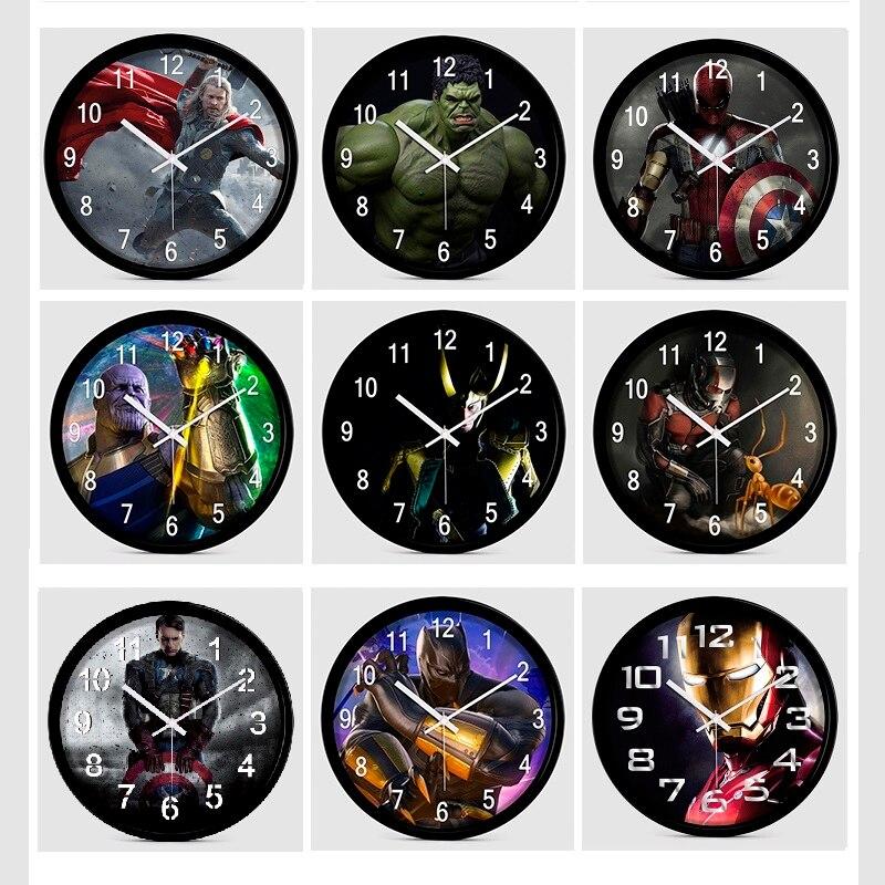 12 pouces silencieux Cartoon Super héros Avenger horloge murale colorée moderne chambre d'enfants cuisine maison décorative