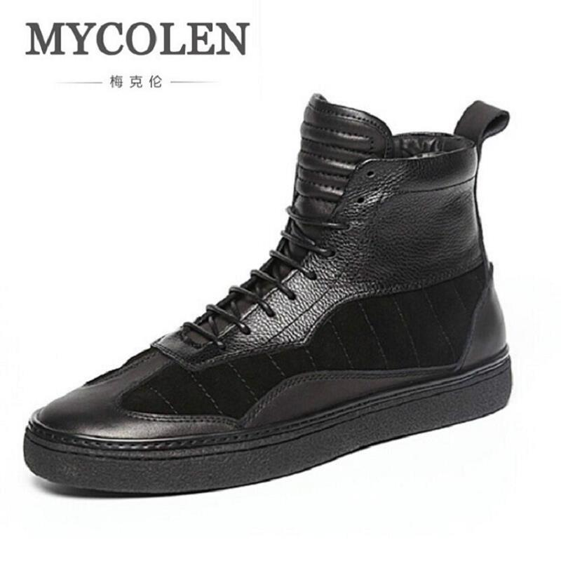 MYCOLEN Luxury Brand Leather Men Shoes Men Winter Boots Black Genuine Leather Male Motorcycle Boots Thick Bottom Martin Shoes northmarch luxury brand men shoes for winter basic ankle boots genuine leather men s chelsea boots black botas moto hombre