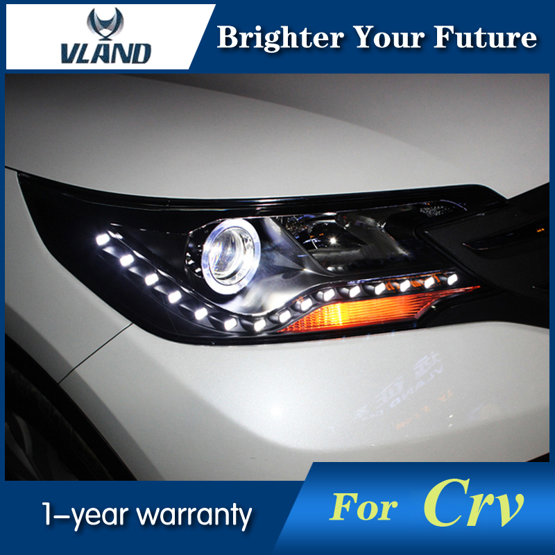 Car Headlight Assembly For HONDA CRV 2012-15 Front Light Bi-Xenon Lens xenon H7 Angel Eye DRL Projector Headlamp headlight for kia k2 rio 2015 including angel eye demon eye drl turn light projector lens hid high low beam assembly
