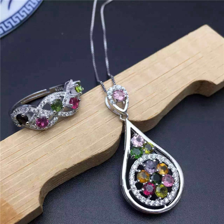 Pure natural tourmaline Ring + Pendant Set 925 Sterling Silver Inlay pure natural tender grape stone ring set 925 sterling silver inlay
