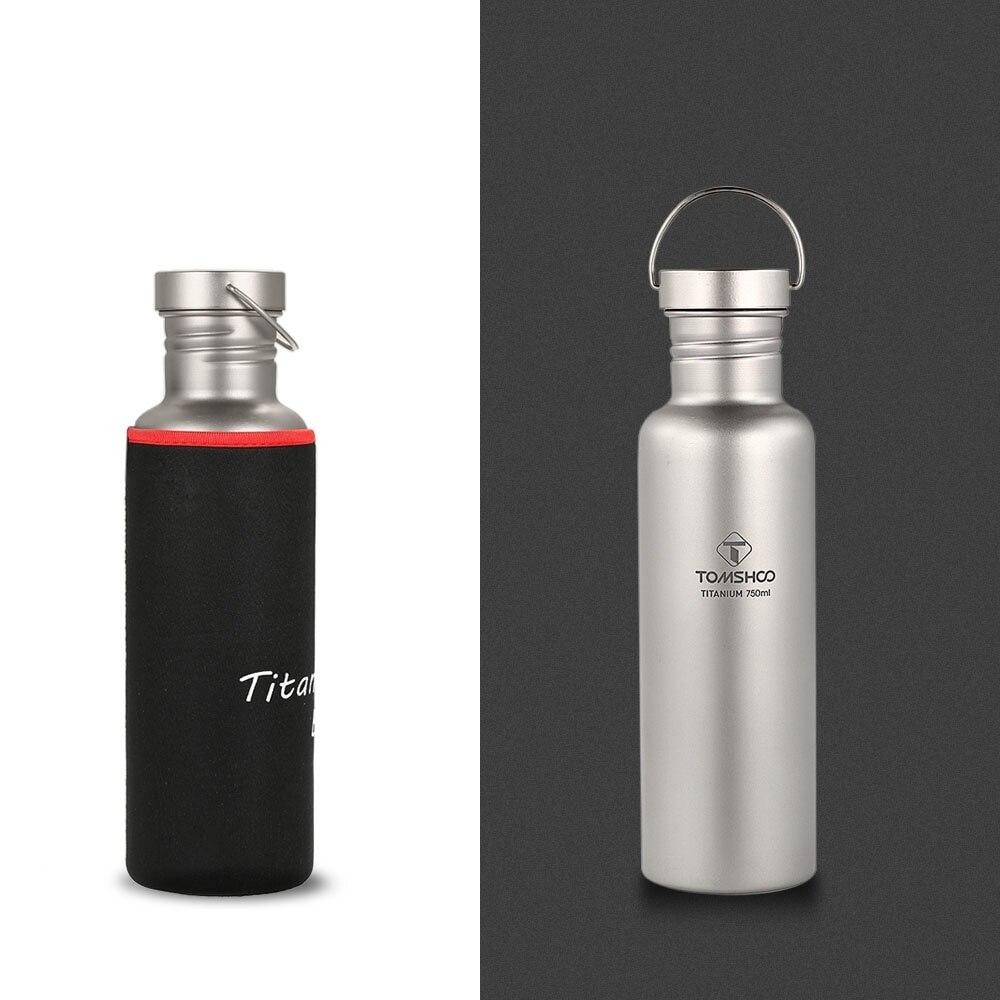 TOMSHOO ultra-léger 550 ml/750 ml bouteille d'eau en titane avec couvercle en plastique pour Camping en plein air randonnée vélo titane Sport bouilloire