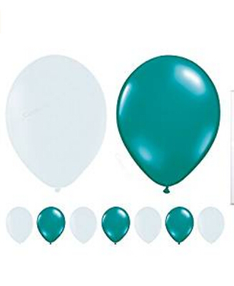 60-Count 10 Mixed Teal Blue & White Latex Balloon Wedding Shower Birthday Party Garland Decoration