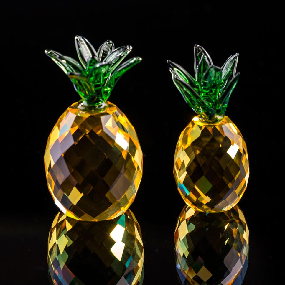 Pineapple Crystal Glass Figure Paperweight Valentines Day Gift Ornament Feng Shui Decor Collection decoration Home Decor