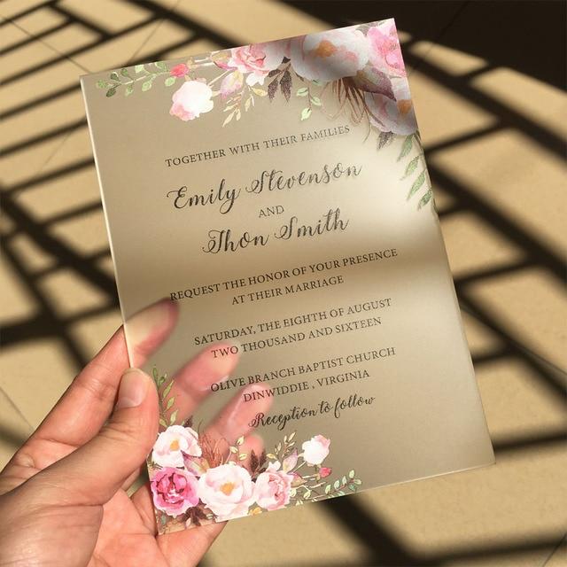 Personalizado 50 pcs por Lote Estilo Rústico Aquarela 5x7 polegada de Acrílico Fosco Cartões Do Convite Do Casamento do Navio para a Austrália só