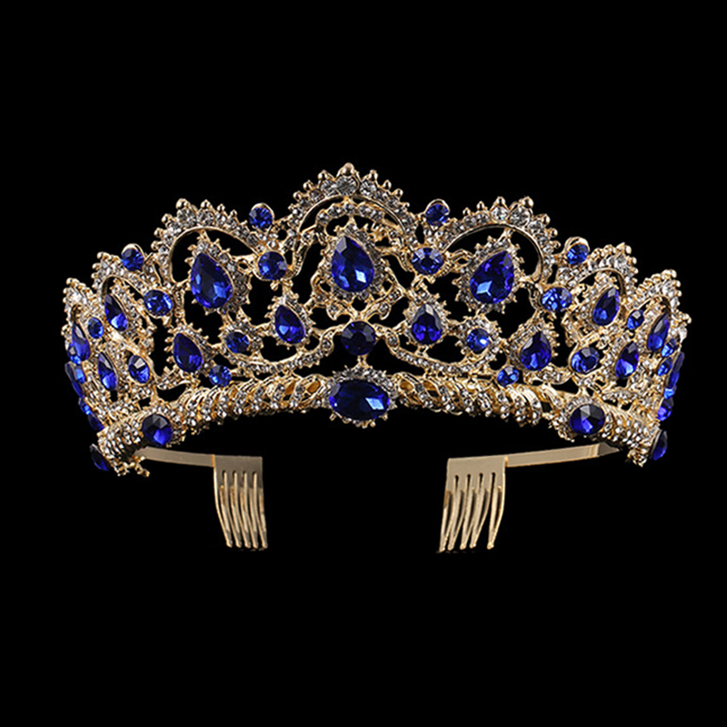 European Blue Crystal Crown Gold Vintage Rhinestone Pageant Royal Tiara With Comb Baroque Wedding Hair Accessories For Bride