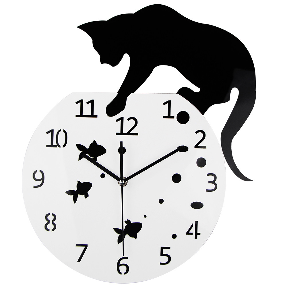 3D Home Decor Akryl Vegg Klokke Cat og Fish Design Big Watch Quartz Cat Clock Stue Dekorative klokker
