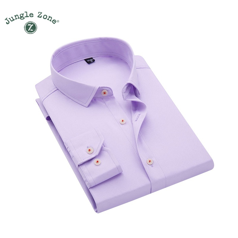 2018 Brand Clothing Men's Shirt Collar Inlaid Design Triple Buckle Cultivating Long-sleeved Solid Color Design Men's Shirts We Have Won Praise From Customers