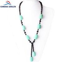 CAMDOE DANLEN Natural Gem Stone Amazonite Bohemia Statement Long Necklaces&Pendants 60CM Fashion Charms Women Necklaces Jewelry
