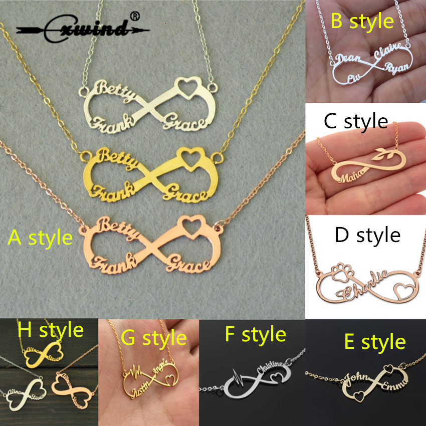 Cxwind 8 Style Shape Custom Any Letter Names Infinity Necklaces Personalized Paw Heart Infinity Pendent Necklace for Women Gift