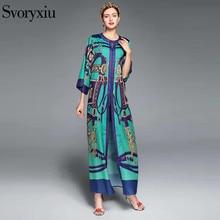 SVORYXIU Runway Designer Vintage Dress Women High Quality 3/4 Sleeves Baroque Printed Cardigan Long Dress 2017 New