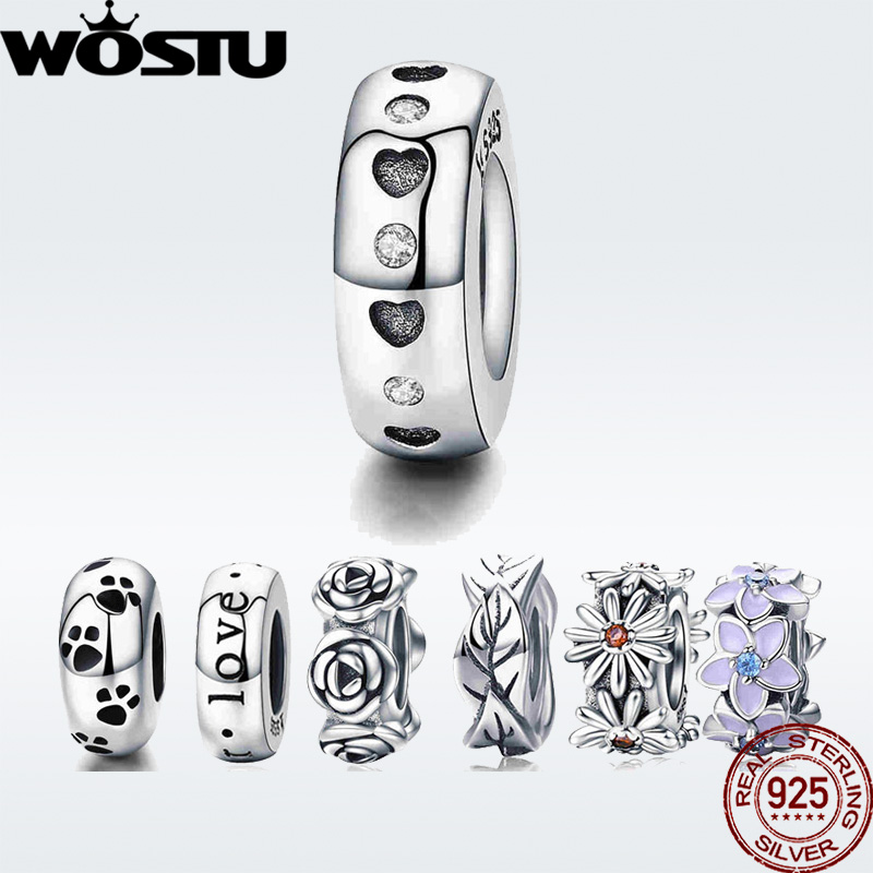WOSTU Real 925 Sterling Silver 9 Styles Heart & Clear CZ Spacer Stopper Bead fit original wst Charm Bracelet Jewelry DXC593