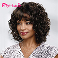 Short Brown Kinky Curly Synthetic Wigs For Black Women Pixie Cut Wig Cheap Hair For Women Cosplay Wig American Wigs Artificial