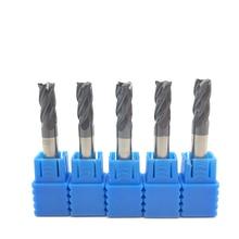 5 pces hrc50 4 flauta 6mm sólido carboneto endmill 50mm 75mm 100mm comprimento padrão longo lado moagem entalho perfil rosto moinho