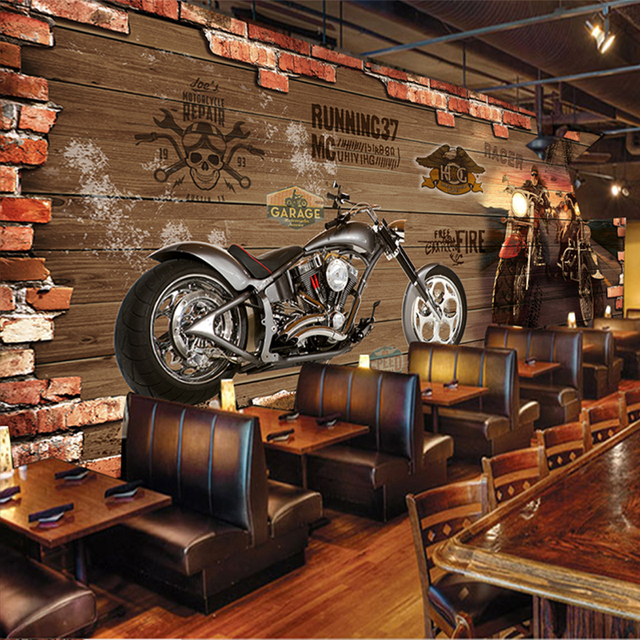 Custom 3d photo wallpaper vintage motorcycle nostalgic for Decoration maison aliexpress