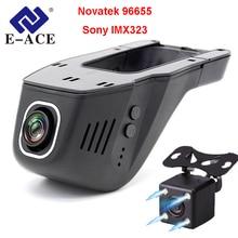 E-ACE Coche Dvr Wifi FHD 1080 P Novatek Dash Cam 96655 Sony IMX323 Mini Lente Dual Video Recorder 170 Grados de Amplio Ángulo Noche visión