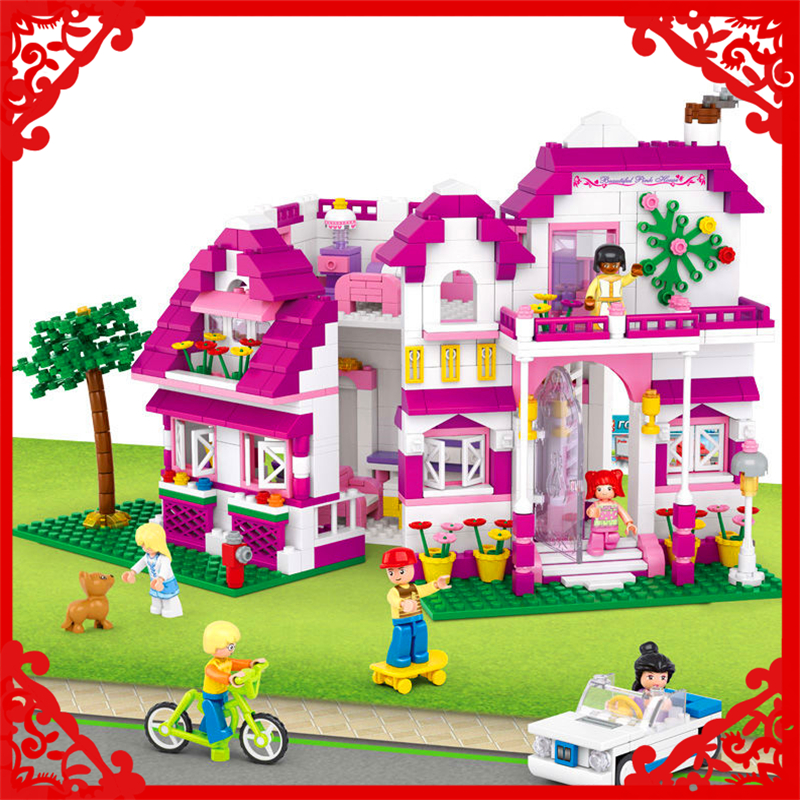 SLUBAN 0536 Girl Friend Sunshine Villa Dream Building Block 726Pcs DIY Educational  Toys For Children Compatible Legoe sluban 2500 block vehicle maintenance repair station 414pcs diy educational building toys for children compatible legoe