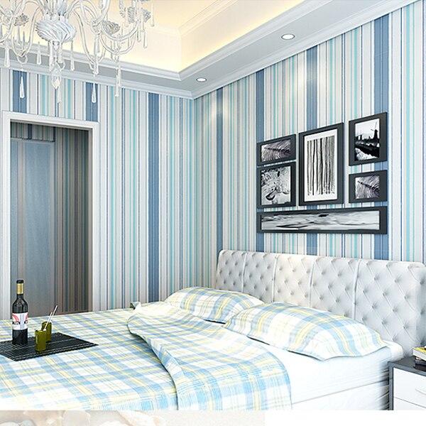 Azul Moderno Papel Pintado De Rayas Verticales No Tejido - Pintar-paredes-a-rayas-verticales