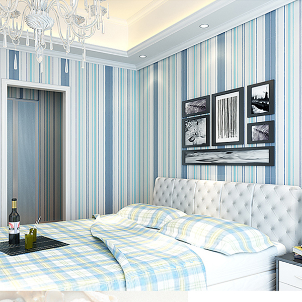 Modern blue vertical striped wallpaper non woven colorful - Papel pared rayas verticales ...