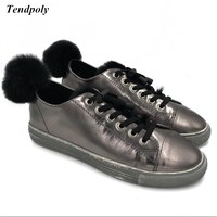 Fall And Winter New Korean Plus Cashmere Leather Shoes Rabbit Ball Flat Hot Explosion Models Fashion