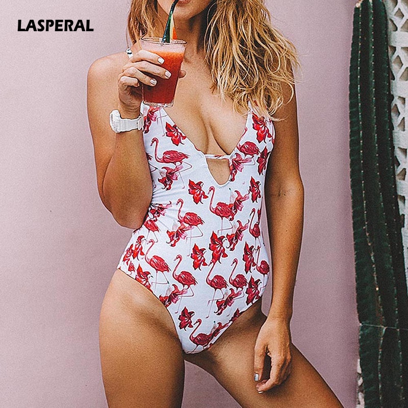 LASPERAL Sexy Women Swimsuit 2018 New One-piece Swimwear Deep V neck Back Cut Out Flamingo Print Bathing Suit Halter Beach Wear