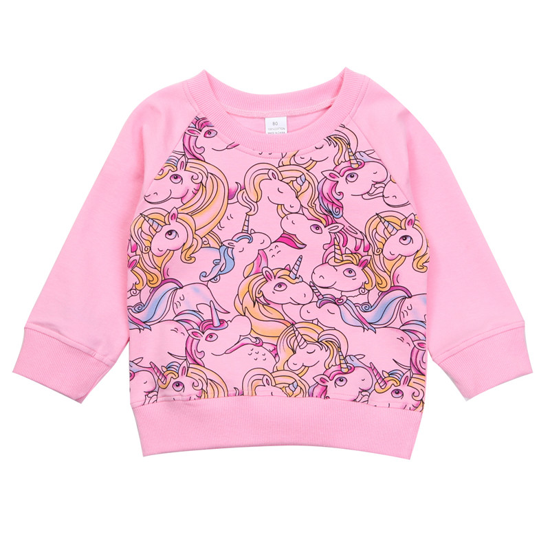 2018 Autumn Spring Fashion Girls Long Sleeve Unicorn font b Hoodies b font Tops Pullover Sweatshirt