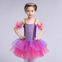 Çocuk Bale Elbise Çocuklar Modern Dans Balerin Tutu Elbise Mor Prenses Parti Elbise Kız Profesyonel Bale Giyim