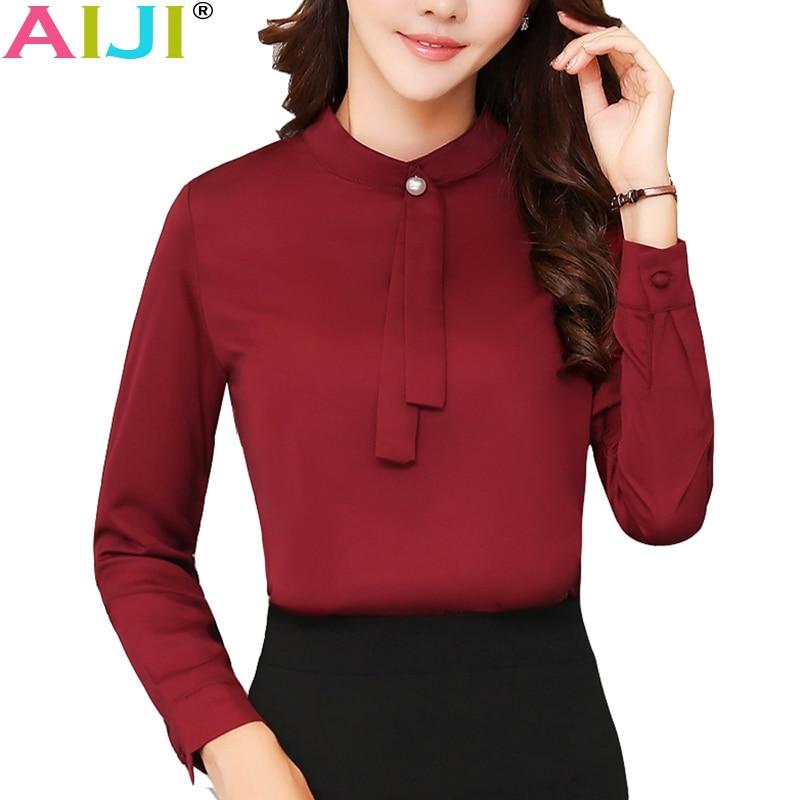 Spring Summer elegant long sleeve blouses women OL career collar chiffon shirts tops ladies office business