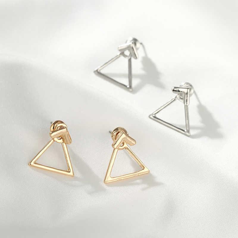 Pendientes de diseño sencillo geométricos de joyería de moda de estilo coreano, pendientes de plata y oro para mujer, triángulo cuadrado Brincos