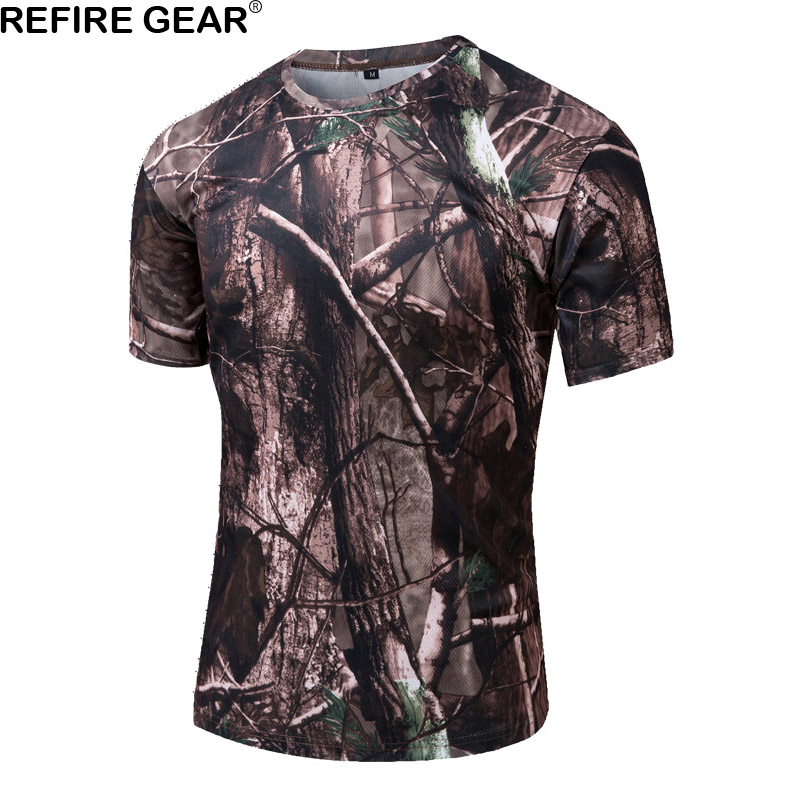 Refire Gear Outdoor Camouflage T-shirt Men Short Sleeve O Neck T Shirt Breathable Quick Dry Hunting ACU Hiking Camping Tshirt