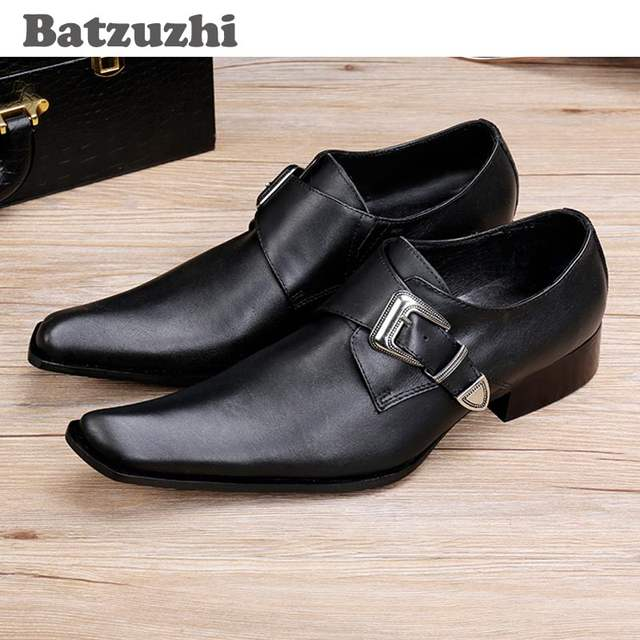 Us 75 6 37 Off Batzuzhi Anese Style Fashion Square Toe Men S Shoes Black Leather Dress Buckle Low Help Wedding Business In